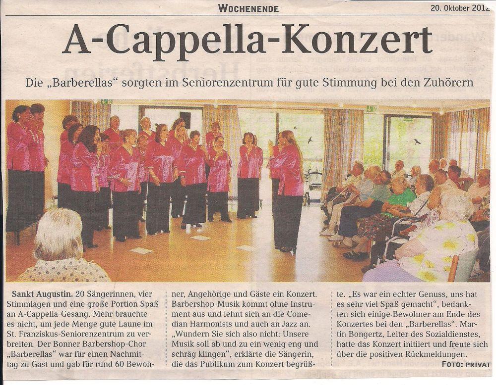 Artikel vom 20. Oktober 2012 aus dem Kölner Stadtanzeiger über das Konzert im St. Franziskus-Seniorenzentrum