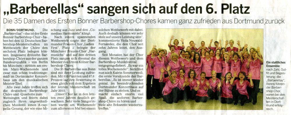 Artikel vom 10. März 2012 aus der Bonner Rundschau über die Teilnahme an der Barbershop-Convention in Dortmund
