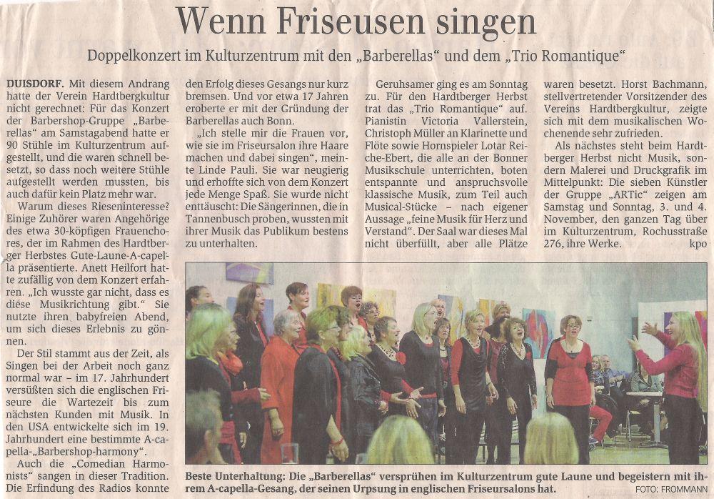 Artikel über das Konzert am 27. Oktober 2012 beim Hardtberger Herbst aus dem Bonner General-Anzeiger